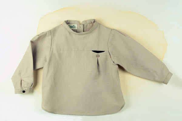 Stone Shirt With Mandarin Collar