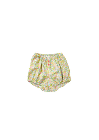 Olive Baby Bloomer - Bright Pink Liberty