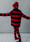 Knit Slim Pants - Black/Red Stripes