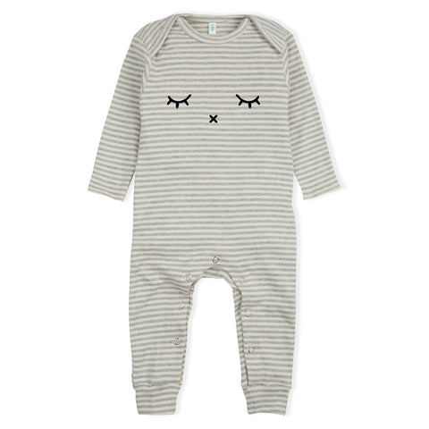 Sleepy Playsuit - Grey Stripes