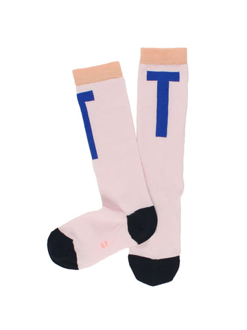 T High Socks - Pale Pink/Blue