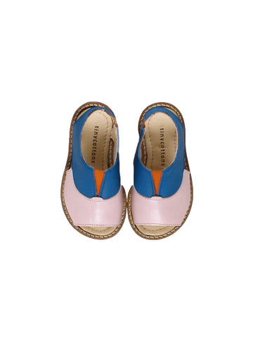 Color Block Sandals - Blue/Pale Pink