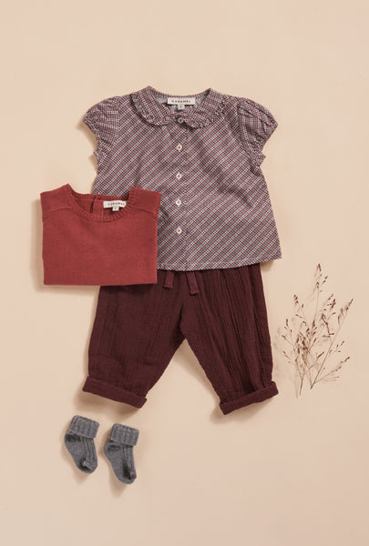 Jicama Baby Blouse - Terracotta Check