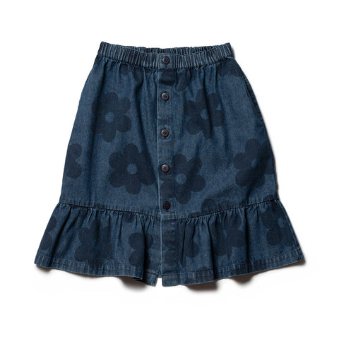 Papillon Skirt - Big Flowers Denim