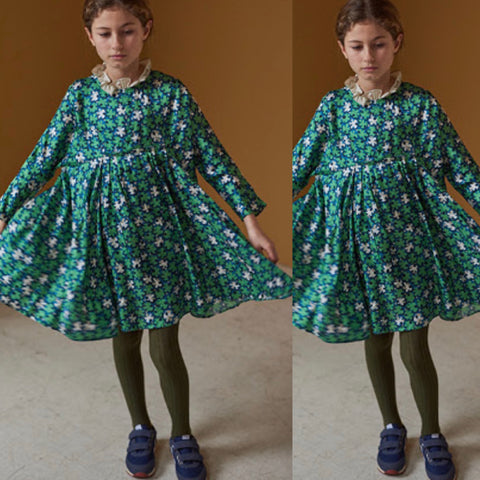 Puffin Dress - Green Leaf Print