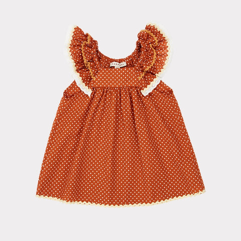 Mulloway Baby Dress - Rust Dot
