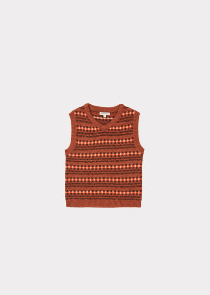 Bison Vest - Rust Fairsle