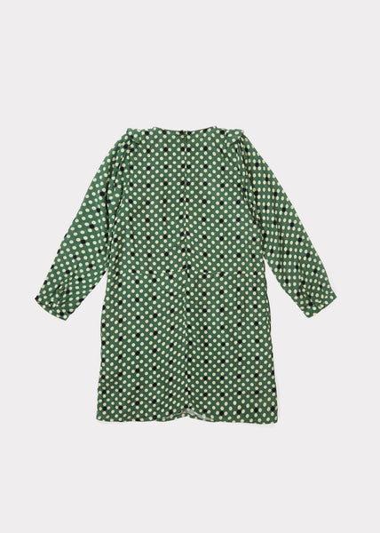 Doe Dress - Forest Green/Polka Dot