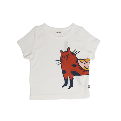 Tee Shirt - White/Cat