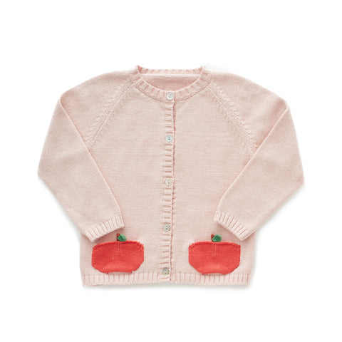 Peach Pocket Cardi - Light Pink/Red