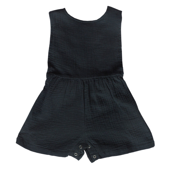 Poet Romper - Charcoal Cotton Gauze