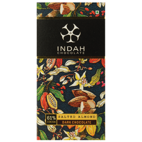 Indah 61% Dark Chocolate - Salted Almond - Indah Chocolate