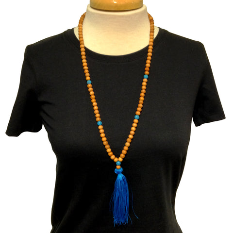 Mala with Blue Tassel Necklace