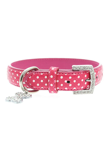 Urban Pup Hot Pink Polka Dot Collar & Diamante Charm