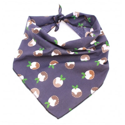 Blue Christmas Pudding Christmas Bandana