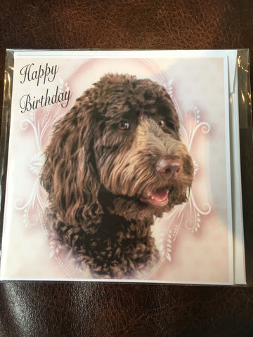 Labradoodle brown Happy Birthday card