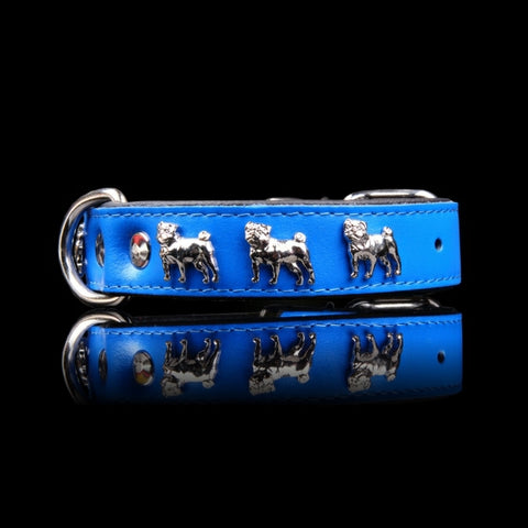 Dogaholic Pug Leather Padded Collar
