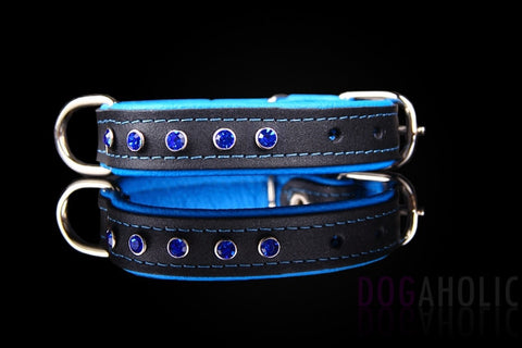 Dogaholic Soft Padded Leather Diamante Dog Collar