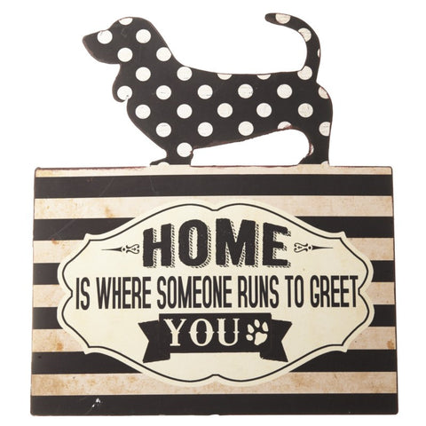 Home Is Where Metal Dachshund Sign