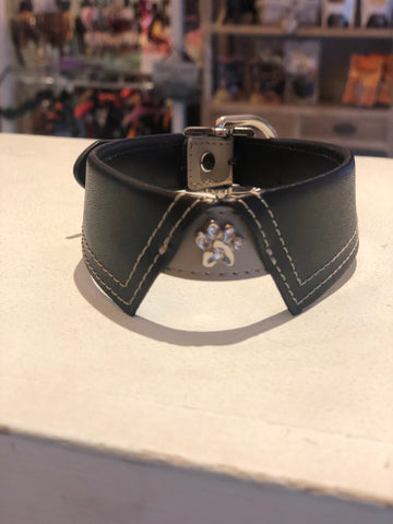 Grey And Black Collar with Diamante Paw