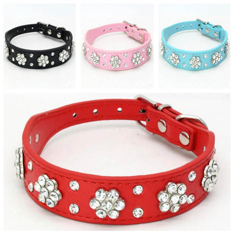 Barking Bling Diamante Flower Collar