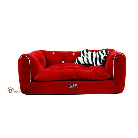 Pretty Pet Rectangle Red Velvet Couch Bed