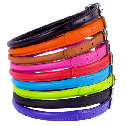 Colourful Rolled Leather Collar