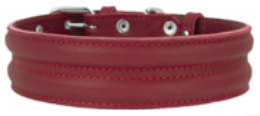 Large Breed Red Leather Padded Collar