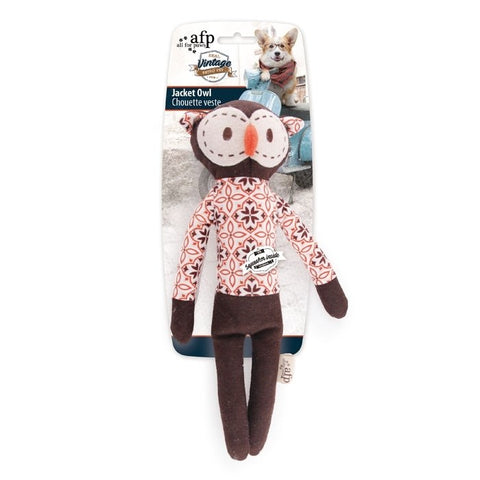 All For Paws Vintage Jacket Owl Toy