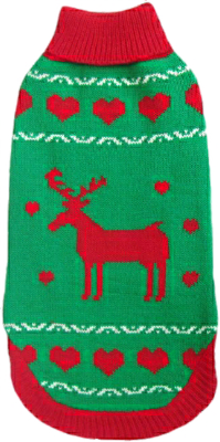 Animate Reindeer Green Polo Neck Jumper