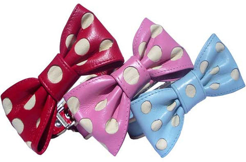 Holly & Lil Bow Belle Leather Polka Dot Collar