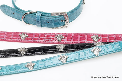 Alligator Diamante Dog Collar