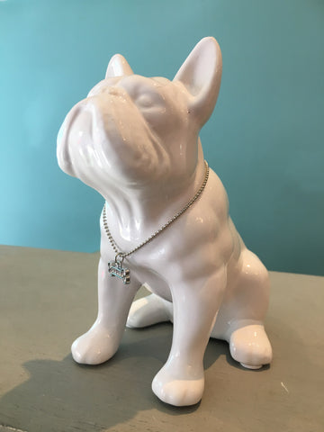 White frenchie Ornament with crystal bone small