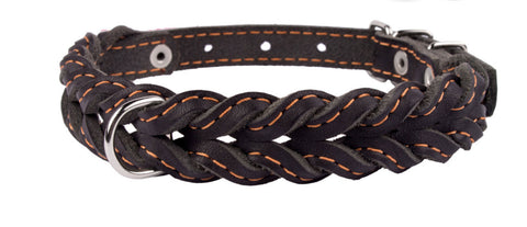 Plaited Soft Leather Dog Collar