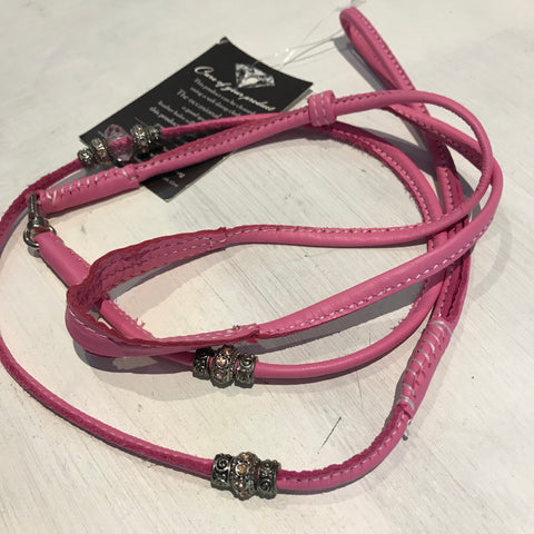 Stephanie Smith Pink Beaded Leather Kindness Lead