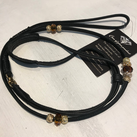 Stephanie Smith Black Beaded Leather Kindness Lead