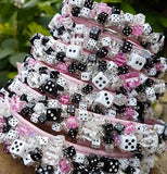 Holly & Lil Luck be a Lady Baby Pink Dice Dog Collar