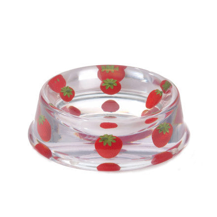 Dogaholic Clear Strawberry Dog Bowl