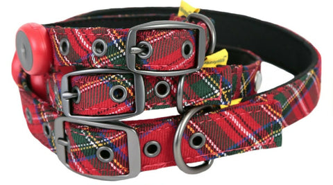 Animate Red Tartan Soft Padded LED Neoprene Collar