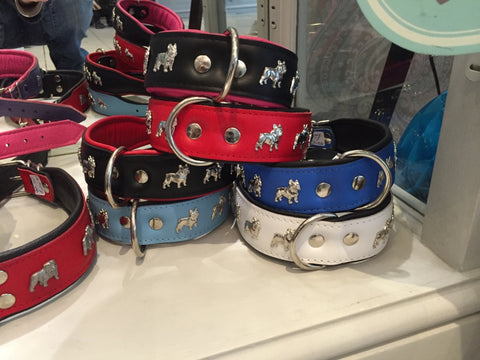 Dogaholic Frenchie Leather Dog Collar