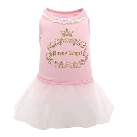 Puppy Angel Luxury Lace Tutu Dress in Pink