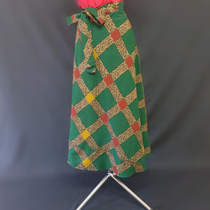 Green Multi Colored African Wrap Around Skirt