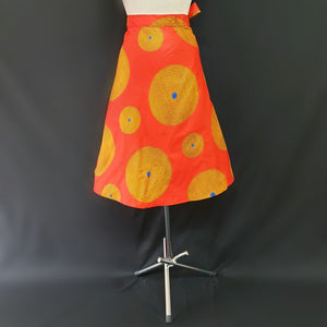 Orange Wrap Around African Skirt