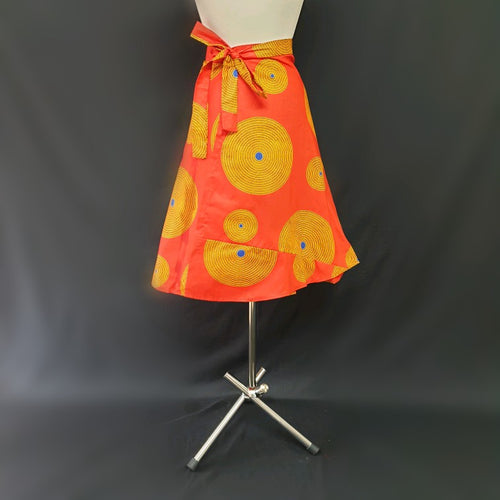 Orange Wrap Around African Skirt - Cerrura Fashions