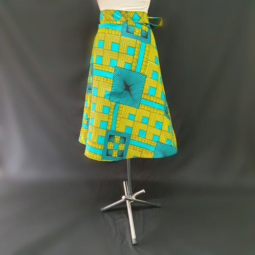 Green and Yellow Wrap Around African Skirt