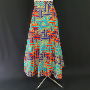 Multi-Colored Wrap Around African Skirt