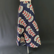 Load image into Gallery viewer, Navy Blue Wrap Around African Skirt