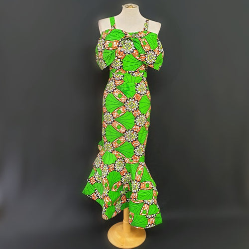 Green Fishtail African Dress - Cerrura Fashions