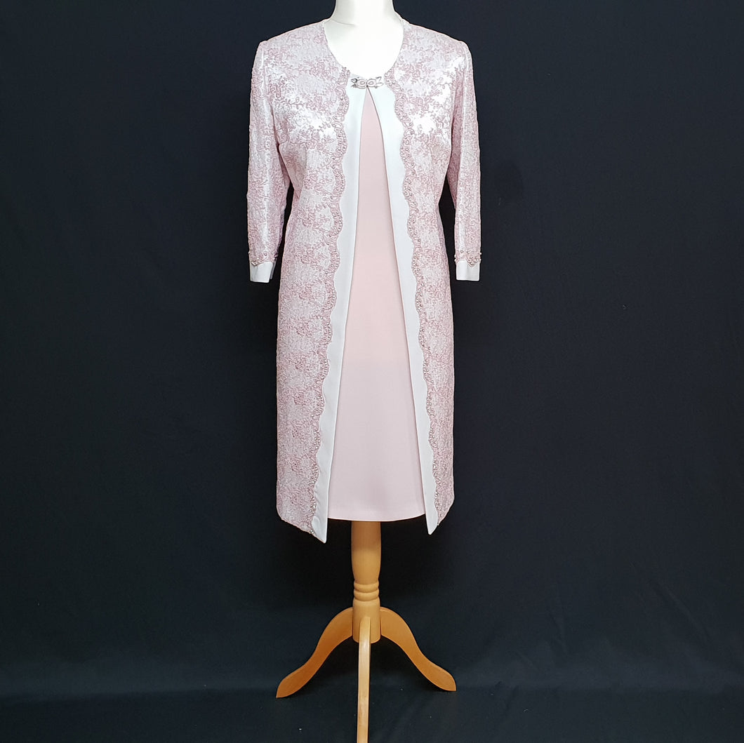 Pink and White Mother of the Bride Dress and Jacket
