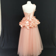 Load image into Gallery viewer, Peach Ball Gown Dress - Cerrura Fashions